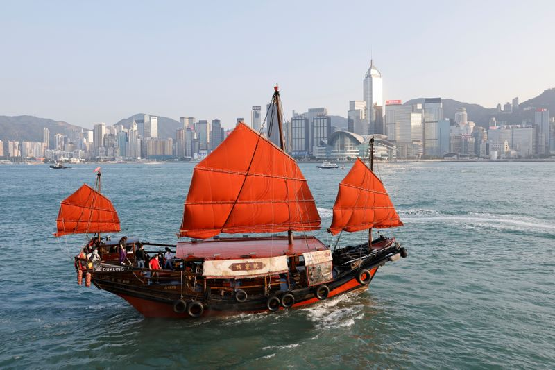 Sailing on traditional wooden tourist junk boat