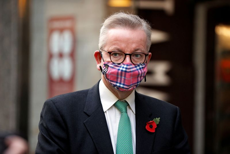 Britain's Chancellor of the Duchy of Lancaster Michael Gove is seen in London
