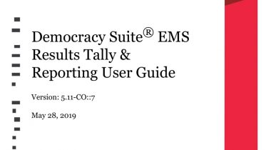 Democracy Suite® EMS Results Tally & Reporting User Guide